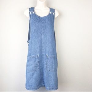 VTG 90s 100% cotton denim overall apron dress